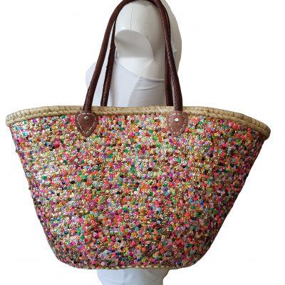 rieten tas gekleurde pailletten