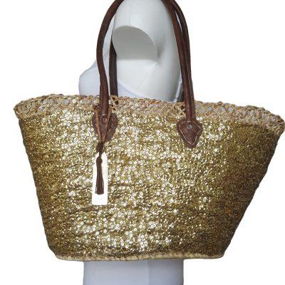 Ibiza tas met gouden pailletten medium size 25-40cm