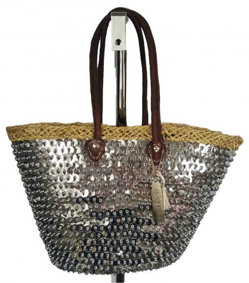 ibiza tas met grote zilveren pailletten