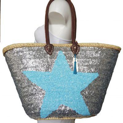 rieten strandtas boho met blauwe ster op zilver