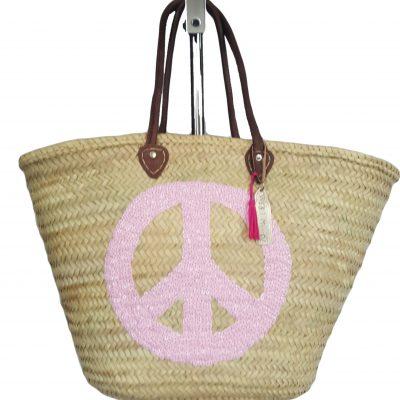 rieten strandtas peace roze