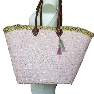 rieten strandtas model ibiza roze