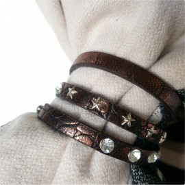 sjaalbandje bruin met steentjes en sterren