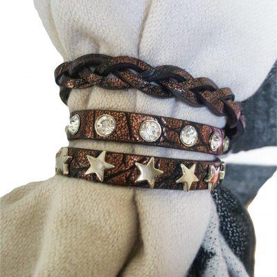 sjaalbandje bruin met Swarovski en sterren