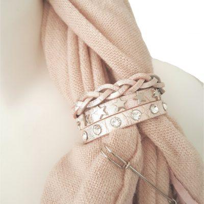 sjaalbandje roze Swarovski en sterren