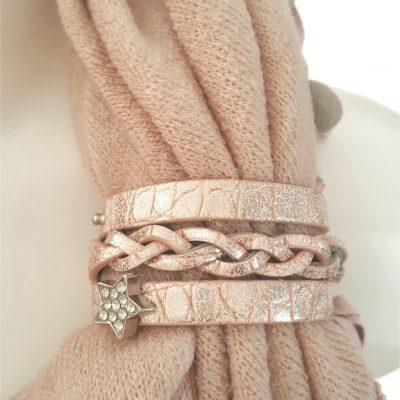 sjaalbandje roze met bedel ster