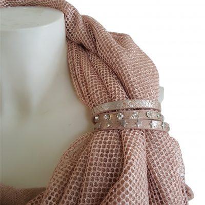 sjaalbandjes roze met steentjes en sterren