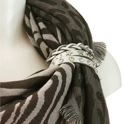 sjaalbandje zilver Swarovski en sterren