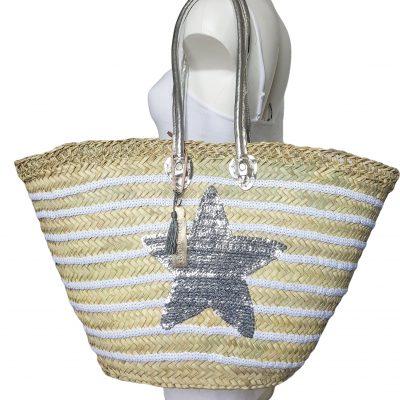 tas riet met strepen en zilveren ster