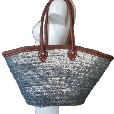 zilveren tas met leer