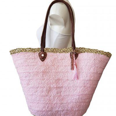 rieten strandtas roze