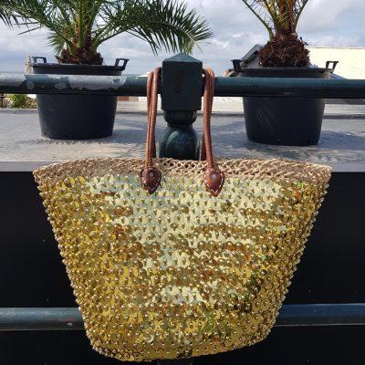 rieten strandtas goud met grote pailletten