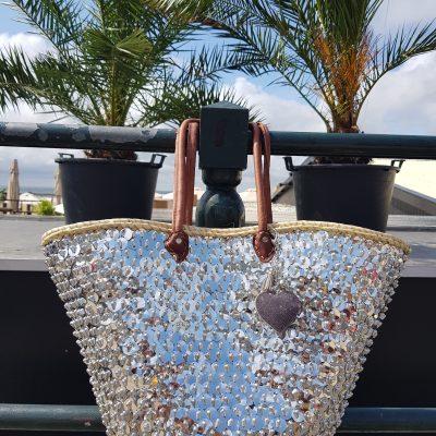 rieten strandtas zilveren pailletten big