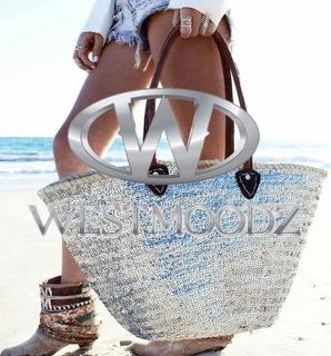 rieten strandtas zilveren paillletten