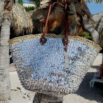 rieten strandtas zilver grote pailletten